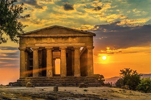 神庙之谷-夕阳中的漫步含红酒品尝